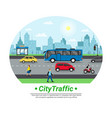 city street traffic flat circle vector image vector image