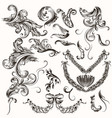collection of antique hand drawn swirls vector image vector image