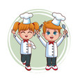 cute chef kids cartoon vector image