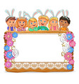 cute kids with banny ears on wooden board vector image vector image