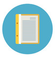 document file paper page icon on blue round vector image