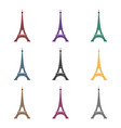 eiffel tower icon in black style isolated on white vector image vector image