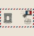 envelope with paris arc de triomphe vector image