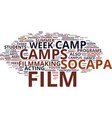 film camp text background word cloud concept vector image vector image