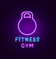 fitness gym neon label vector image vector image