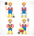 Funny Farmer Characters Set vector image