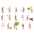 Gardener Characters Icon Set vector image