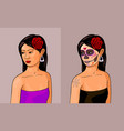 girl with calavera makeup vector image vector image