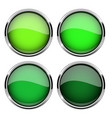 green glass buttons with metal frame set shiny vector image vector image