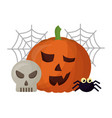 halloween pumpkin with spider and set icons vector image vector image