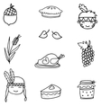 Hand draw thanksgiving object on doodles vector image vector image