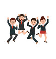 happy jumping business people celebrating their vector image vector image