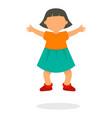 kid girl jump icon flat style vector image