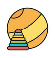 kids toy yellow beach ball and plastic pyramid vector image vector image