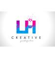 lh l h letter logo with shattered broken blue vector image vector image