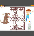 maze game with cartoon boy and dog vector image vector image