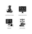 modern higher education black glyph icons set vector image