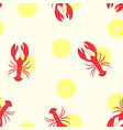pattern with lobster and lemon vector image vector image