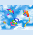 realistic kite sky composition vector image