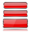 red glass buttons with metal frame set of 3d vector image vector image