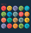 round thin icon with shadow set 13 vector image vector image