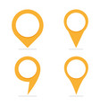 set of 4 yellow map pointers in different form vector image vector image
