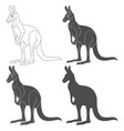 set of black and white of kangaroo vector image vector image
