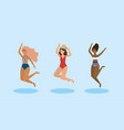 set women jumping and wearing swimsuit with hat vector image