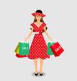 shopping girl clip art vector image