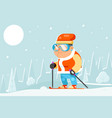skiing grandfather adult skier winter sports vector image vector image