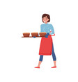 smiling woman carrying tray with hot freshly vector image vector image
