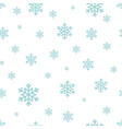 snowflake seamless pattern blue snow on white vector image