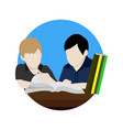 social studying together cartoon graphic design vector image