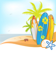 summer background with surboard vector image