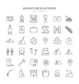 various adventure thin line icon set design vector image