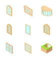 window orifice icons set isometric style vector image vector image