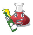 with beer red wine decanter isolated on mascot vector image