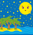 yellow yellow moon with a smile on the background vector image vector image