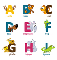 alphabet animals from A to I vector image