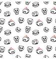 seamless pattern with cute panda asian bear vector image
