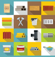 building materials icons set flat style vector image