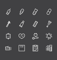 hospital element white icon set on black backgroun vector image