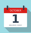 1 october music day flat daily calendar i vector image vector image