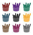 basket of baguette icon in black style isolated on vector image vector image