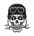 Biker skull in helmet and wrench in mouth