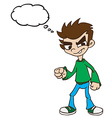 boy standing with thought bubble vector image vector image