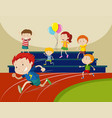 boys running in the race vector image vector image