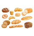 bread and bakery product watercolor drawing set vector image vector image