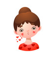 brown haired girl face blowing kiss vector image vector image