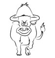 bull sketch on white background vector image vector image